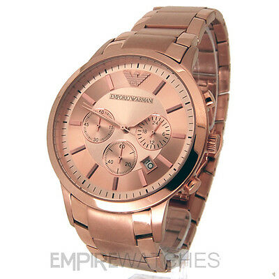*New* Mens Emporio Armani Rose Gold Chronograph Watch - Ar2452 - Rrp £399.00