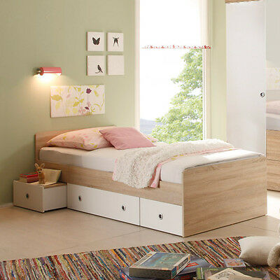 bett winnie in eiche sonoma wei jugendbett jugendzimmer neu 90 x 200. Black Bedroom Furniture Sets. Home Design Ideas