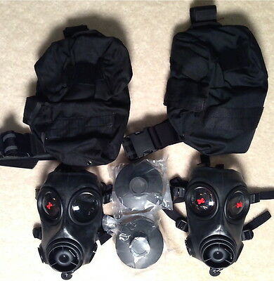 2 AVON FM12 RESPIRATOR size 2 with 2 DPF12 FILTER 2 CARRIER, NEVER ISSUED