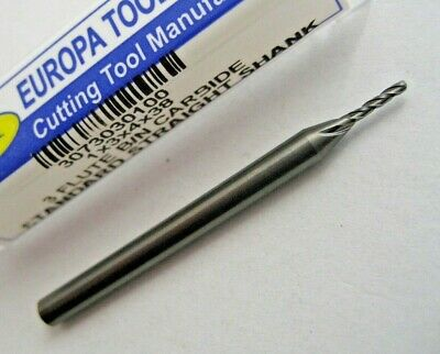 1mm SOLID CARBIDE BALL NOSED 3 FLUTED END MILL EUROPA TOOL 3073030100  #50