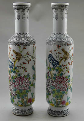 chinese Collectible Rare Old Handwork Porcelain Painted Flower Bird Pair Vase