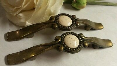"""Pair 5"""" BRASS Drawer Cabinet Pulls Knobs  Salvage 2 vtg cabinet dressers two"""