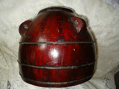 ANTIQUE CHINESE WOODEN BUCKET - ASIAN WOOD WATER BARREL - FOOD STORAGE ANTIQUE