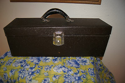 Vintage Metal Lock Box THE FULTON STRONG BOX METAL TOOL BOX INDUSTRIAL AGE TOOLS