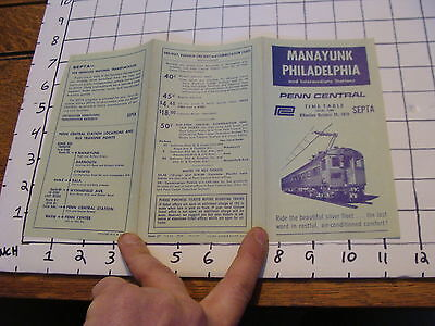 Vintage Early Paper: subway: PENN CENTRAL time table: 1970 MANAYUNK PHIL