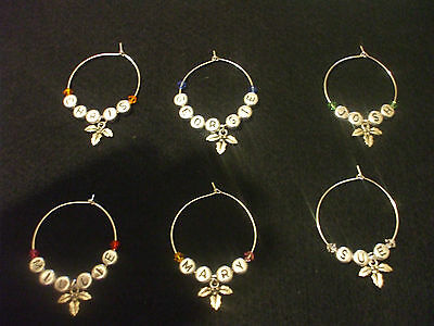 Christmas Holly Wine Glass Charms Set of 6 Any Name Personalised Free P&P