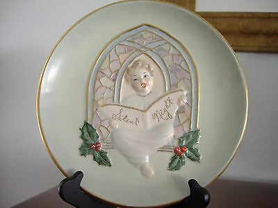 Christmas Candy Dish Plate Vtg 1955 Collectible Jamar Mallory Handpainted 8.5""