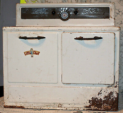 "Vintage Antique ""Little Chef"" Metal Childrens Pretend Play Kitchen Oven Stove"