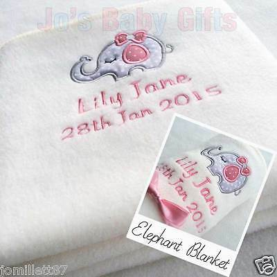 Personalised Embroidered Baby Blanket -ELEPHANT DESIGN - unique New Baby Gift