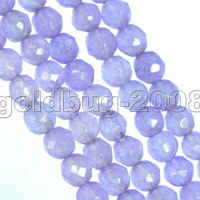 """4mm Lavender Jade Faceted Round Loose Beads 15"""""""