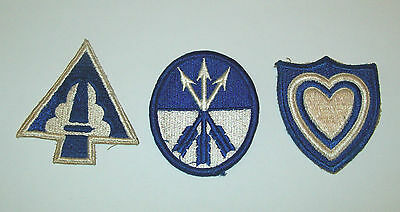 LOT OF 3 WW2 US ARMY CORPS PATCHES - 22nd - 23rd - 24th  - NO GLOW -