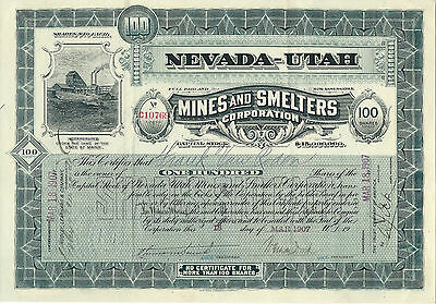 Nevada-Utah Mines & Smelters Corporation Stock Certificate, 1907
