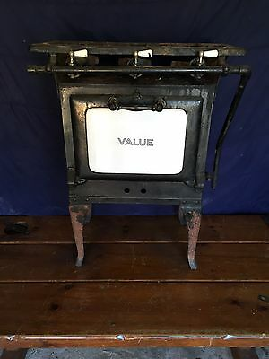 VINTAGE Antique Small VALUE 3 BURNER GAS STOVE  w/ Oven