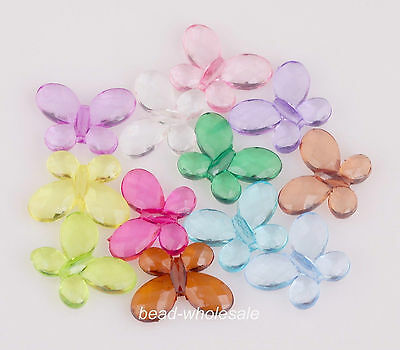 30Pcs Mixed ColorCandy Color Clear Acrylic Faceted Butterfly Spacer Beads Charms