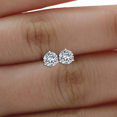 Round Solitaire Stud Earrings 1 ct Martini Style Solid 14k White Gold Screw Back