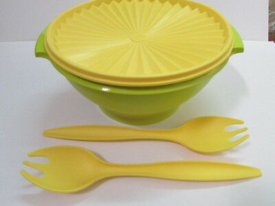 New 1 x Tupperware 3.8L Large Green Salad Bowl with Yellow seal and Forks (2)