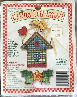 Dimensions Wire Whimsey CHRISTMAS BIRDHOUSE Counted cross stitch kit Karen Avery