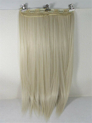"""New 24"""" Women's Wigs Long Hair straight Wigs 6 Clips-on 130g Platinum Blonde #60"""