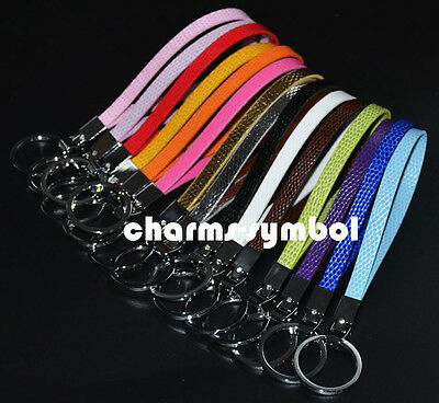 30PCS Mixed Color Key Chains Snake Synthetic Leather Belts Fit 8mm Slide Charms
