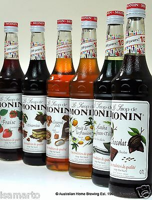 Monin Syrup ANY MIX of 6 Chocolate Cookie White Chocolate Hazelnut Tiramisu