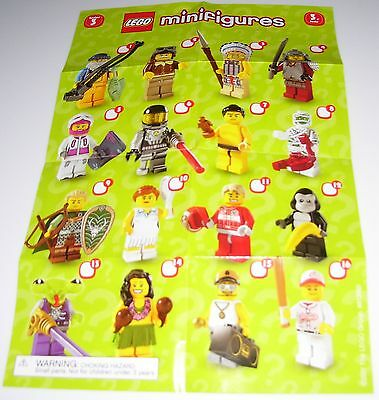 1 Pamphlet Mini Poster Only Showing 16 Pictured Lego Series 3 8803 Minifigures