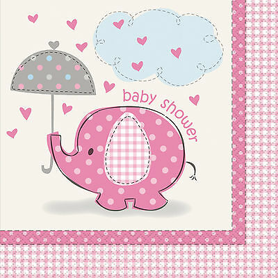 Pink Elephant Baby Shower Paper Party Napkins | Serviettes | Tissues 1-96pk