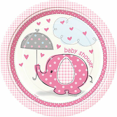 Pink Elephant | Umbrella Baby Shower 23cm Paper Party Plates 1-48pk