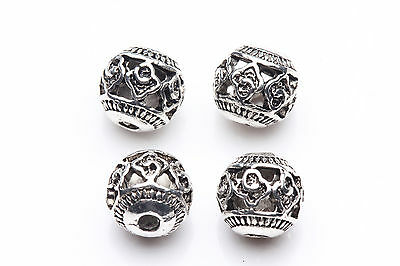 10pcs Tibet Silver Caving Round Spacer Beads Jewelry Making 8mm A0252-I10
