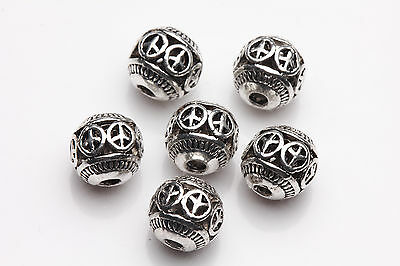 10pcs Tibet Silver Caving Round Spacer Beads Jewelry Making 8mm A0252-C10