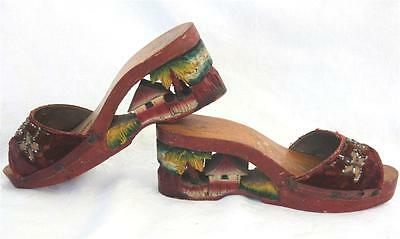 Vtg WWII beaded Carved Wooden Wedge Shoes Japan Tiki hut~palm tree~Hawaii~7