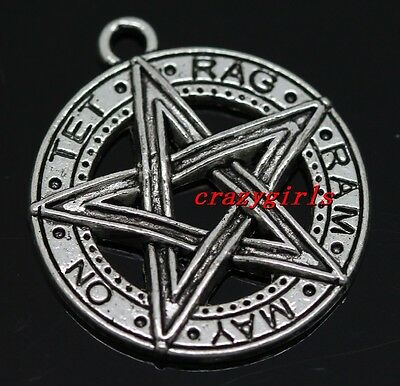 6pcs Tibet Silver nice pentagram Gothic Wicca Paga Charm Pendant 28x25mm