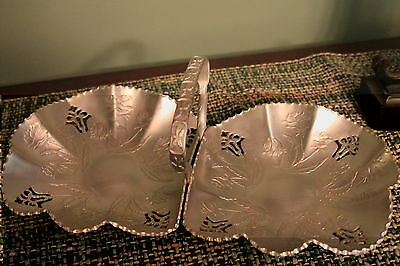 VINTAGE ALUMINUM DOUBLE BOWL ROSE SERVER BOWL CANDY DISH RELISH TRAY WITH HANDLE