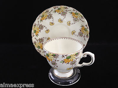 Plant TUSCAN China England Yellow Flower Daisy TEA CUP & SAUCER SET