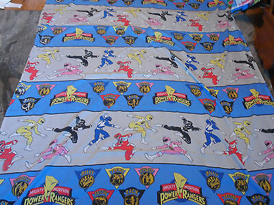 1994 Vintage Mighty Morphin Power Rangers Twin Bed Flat Sheet Fabric EUC