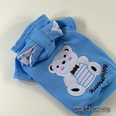 Dog&Cat Clothes Bear Ears Hoodie Shirts Doll Embroidered Coats_C302 Blue,sz M