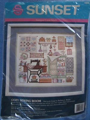 """SEALED VINTAGE SUNSET """"COZY SEWING ROOM"""" CROSS STITCH KIT"""