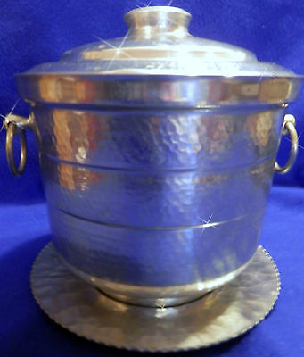 Vintage Gailstyn Hammered Aluminum Ice Bucket w/Lid &  Underplate by Rodney Kent