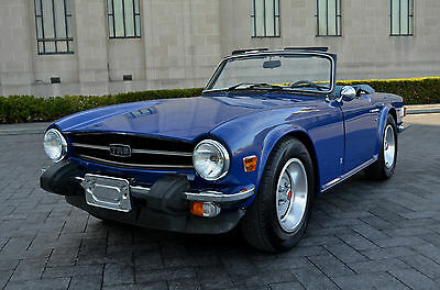 Triumph : TR-6 Super Sharp - Documented Low Miles - Blue on Blue 75 tr 6 low miles restored sharp rare color combo race ready performer