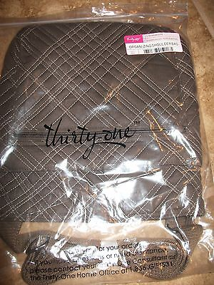 NIP Thirty One Gifts Organizing Shoulder Bag Brown Quilted Pick Me Plaid