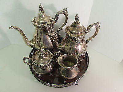 ANTIQUE BAROQUE BY WALLACE 4 PIECE SILVERPLATE TEA/COFFEE POT SET SERVICE TRAY
