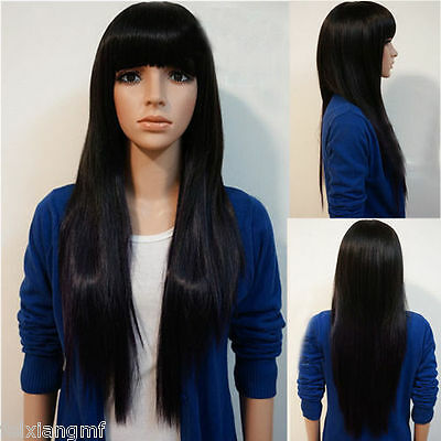 New Fashion Long Straight Womens Girl Hair Full Wigs Wig Cosplay Party