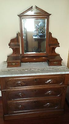 Antique Walnut Dresser with Marble Top and Matching Vanity 2pcs