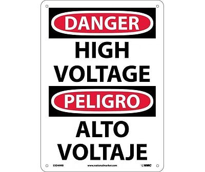 "NMC ESD49RB Safety Sign ""DANGER HIGH VOLTAGE"" with Spanish Text 14""x10"" Plastic"