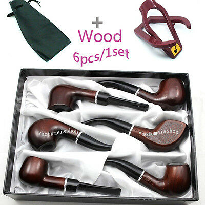 Wholesale 1set/6pcs Men Wooden Carved Knight Tobacco Smoking Pipe+Pouch+Stand