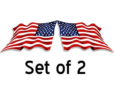 Set of 2: 3x6 in WAVING American Flag Stickers (Forward & Reverse) -decal mirror