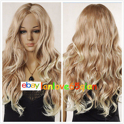 Sexy Women's Long Blonde Mixed Wavy Curly Natural Cosplay Hair Wigs+free wig cap