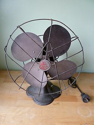 """Antique Red Badge Emerson Junior 10"""" Oscillator Fan with Cast Iron Base 2650-B"""