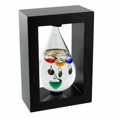 Tear drop Galileo thermometer In Wood Frame G146