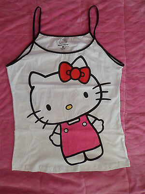 """nwot HELLO KITTY by Sanrio Tank Top SLEEPWEAR jrs XL(34"""" bust)Pink White RED BOW"""