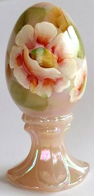 Fenton Art Glass Rose Pink Hand Painted Iridescent Egg